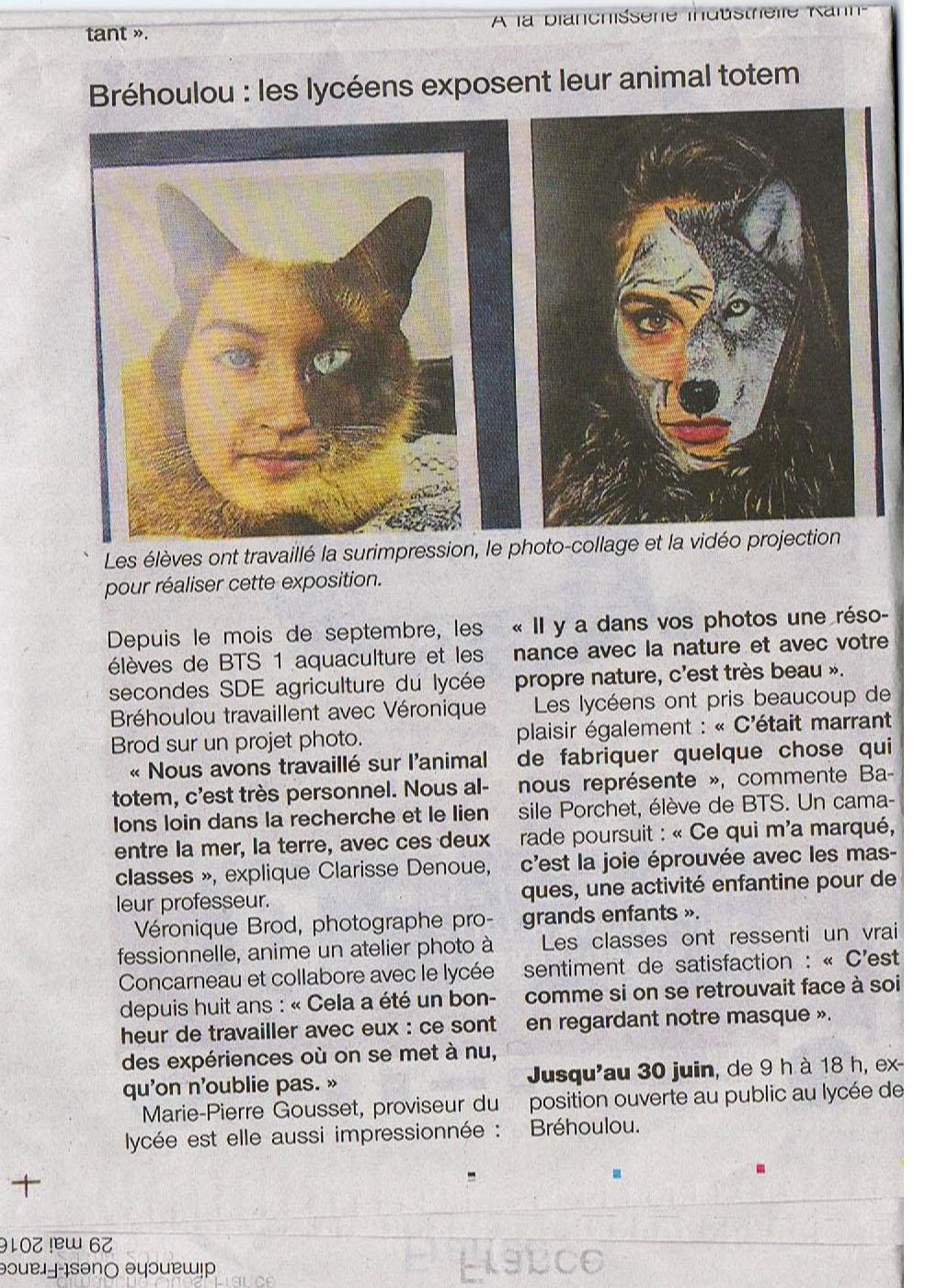 Presse Expostion au Lycée de Bréhoulou- Fouesnant